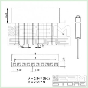 KIT 4 pz connettori strip line femmina LUNGHI per ARDUINO