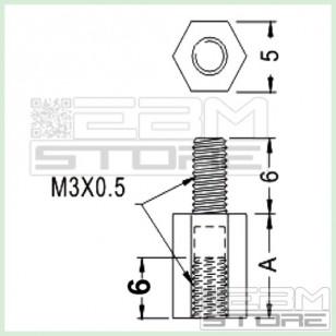 5pz Distanziale metallo M-F M3 15mm