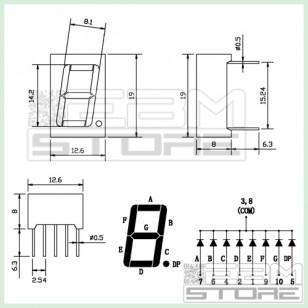 2pz Display 7 segmenti BLU catodo comune OPDS5621LBBW