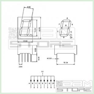 2pz Display 7 segmenti OPDS5620GBW verde anodo comune