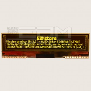Display seriale 3,3'' grafico SPI - OLED 288x48 OSRAM PICTIVA