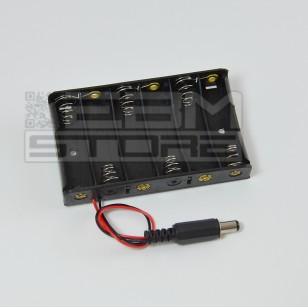 Portabatterie 6 posti CON CONNETTORE - per 6 pile stilo AA