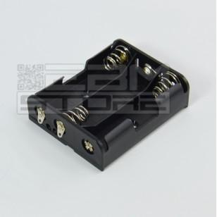 Portabatterie piatto per 3 pile stilo AA - con lamelle