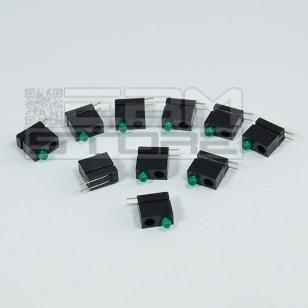 SOTTOCOSTO 10pz portaled da c.s. 90° con led verde 3mm