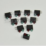 SOTTOCOSTO 10pz portaled da c.s. 90° con led rosso + verde 3mm