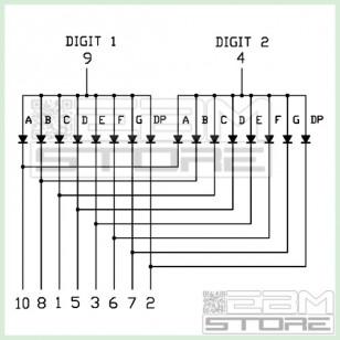 SOTTOCOSTO 10pz Display due cifre verde anodo comune LTD4608HG