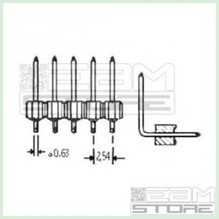 5pz Connettore strip line 40 poli maschio 90° L=6mm